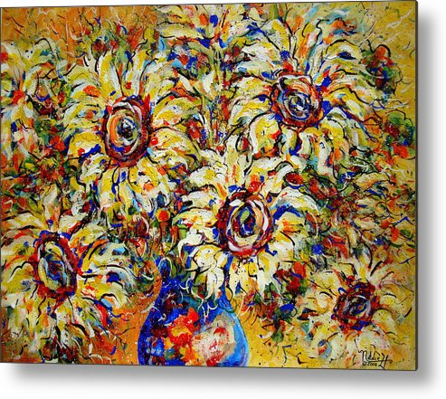 Flowers Metal Print featuring the painting Vibrant Sunflower Essence by Natalie Holland