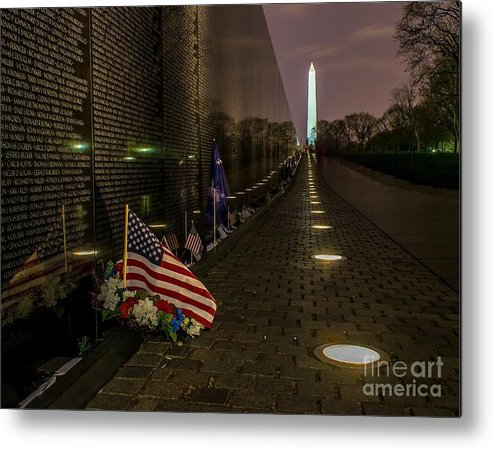 Vietnam Metal Print featuring the photograph Vietnam Veterans Memorial At Night by Nick Zelinsky