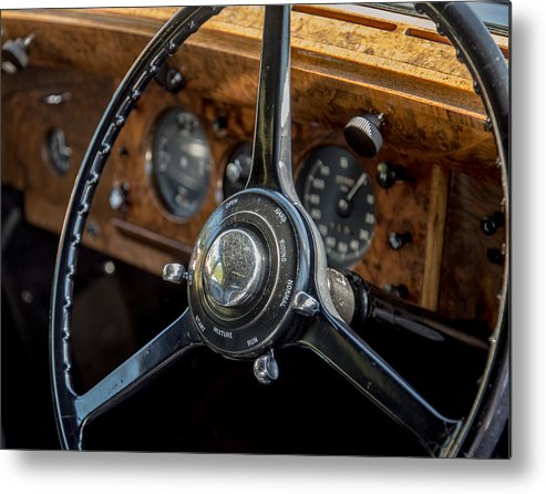 Vintage Automobiles Metal Print featuring the photograph Vintage Steering by Diane Travis