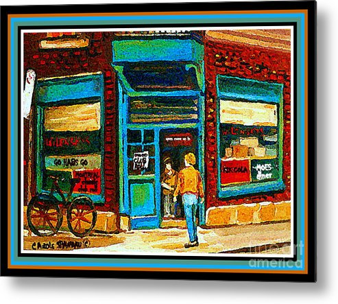 Wilenskys Deli Montreal Memories Metal Print featuring the painting Wilenskys Art Famous Blue Door Posters Prints Cards Originals Commission Montreal Painting Cspandau by Carole Spandau