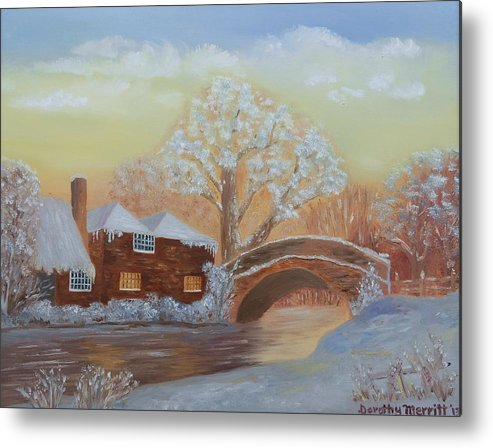 Sunset Metal Print featuring the painting Winter Sunset by Dorothy Merritt