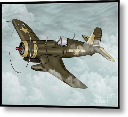 Air Metal Print featuring the painting World War 2 Airplane by Karen Sheltrown