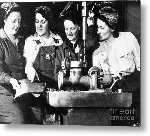 1940s Metal Print featuring the photograph World War II Workers by Granger