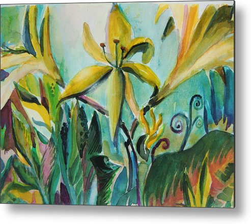 Lily Metal Print featuring the painting Yellow Day Lilies by Mindy Newman