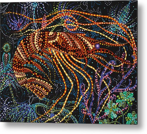 Ocean Metal Print featuring the painting A Shrimp by Erika Pochybova