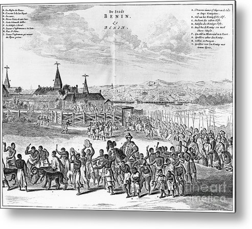1686 Metal Print featuring the photograph Africa: Benin City, 1686 by Granger