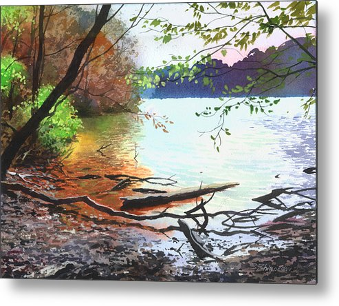 Autumn Lake Metal Print featuring the painting Autumn Lake by Sergey Zhiboedov