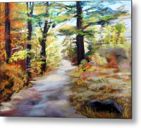 Landscape Metal Print featuring the painting Autumn Walk In The Woods by Trudy Morris