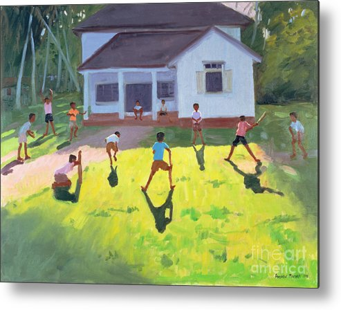 Children Metal Print featuring the painting Cricket by Andrew Macara