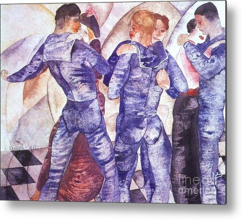 Pd Metal Print featuring the painting Dancing Sailors by Pg Reproductions
