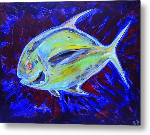 Art Metal Print featuring the painting Electric Pompano by Jeremy Smith