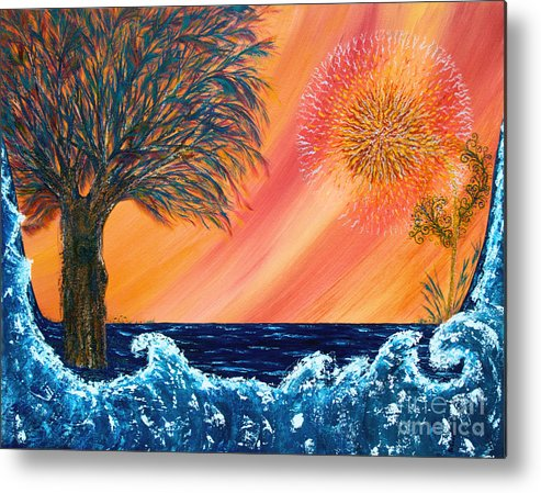 Sky Metal Print featuring the painting Europa Tsunami by Pm Ernst