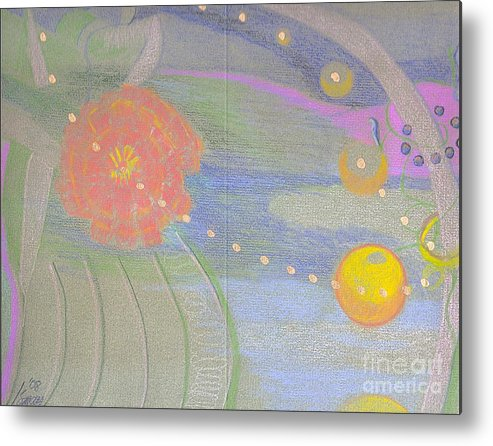 Abstract Metal Print featuring the drawing Fantasy Garden by Rod Ismay