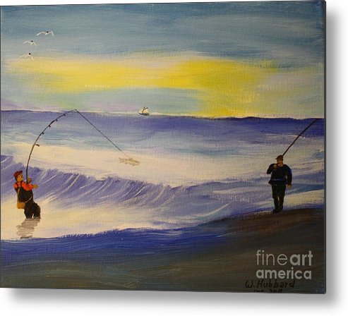 First Light Metal Print featuring the painting First Light First Wave First Fish by Bill Hubbard