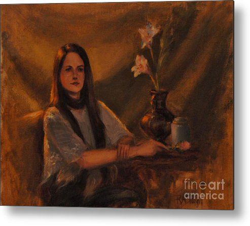 Young Woman Metal Print featuring the painting Girl With Lilies by Ruth Ann Sturgill