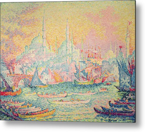 Neo-impressionist; Pointillist; Landscape; Hagia; Byzantine Architecture; Rowing Boat; Minaret; Constantinople Metal Print featuring the painting Istanbul by Paul Signac