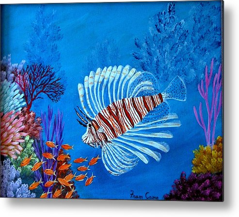 Lion Fish--underwater--marine Life Metal Print featuring the painting Lion Fish by Fram Cama