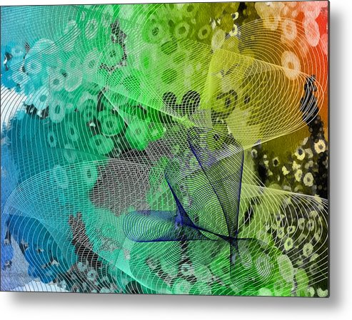 Abstract Metal Print featuring the mixed media Magnification 5 by Angelina Vick