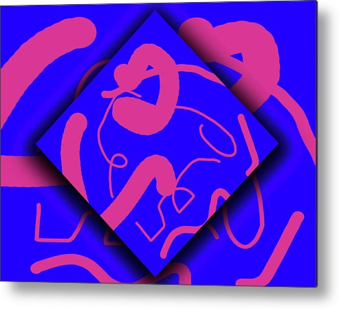Abstract Metal Print featuring the digital art Neon Out Of Bounds by Carolyn Marshall