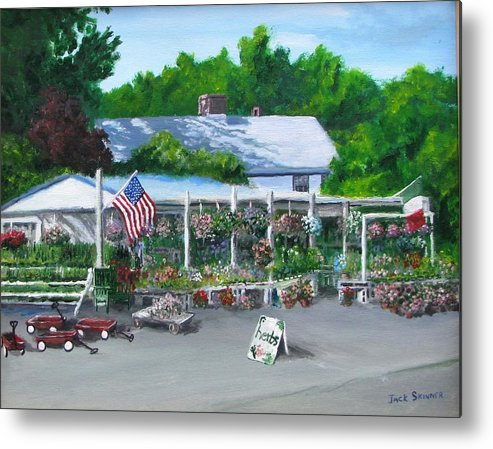 Farm Stand Metal Print featuring the painting Scimone's Farm Stand by Jack Skinner