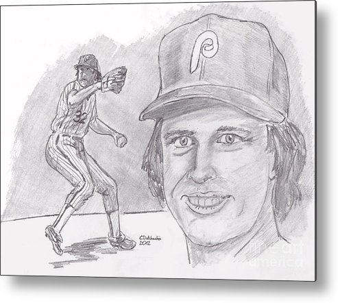 Phillies Metal Print featuring the drawing Steve Carlton- Lefty by Chris DelVecchio