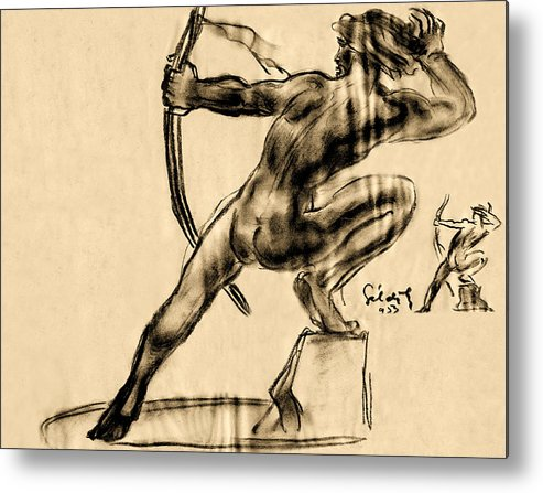 Abstract Metal Print featuring the drawing The Bow Man by Odon Czintos
