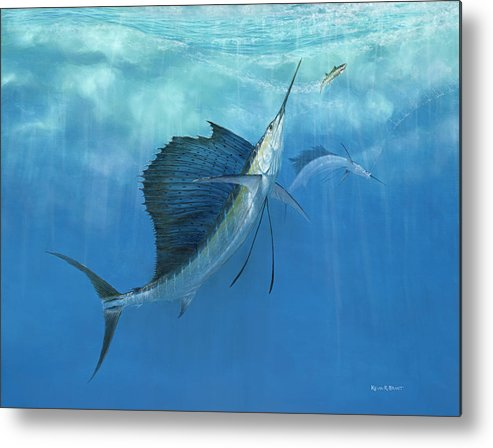 Kevin Brant Metal Print featuring the painting Two Of A Kind Sailfish by Kevin Brant