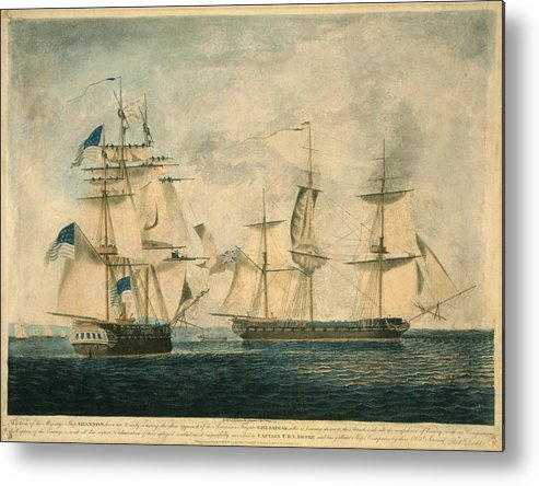History Metal Print featuring the photograph Uss Chesapeake Vs. Hms Shannon by Everett
