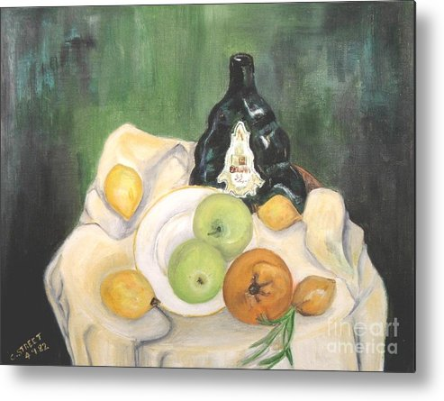 Still Life Metal Print featuring the painting Wine And Fruit by Caroline Street