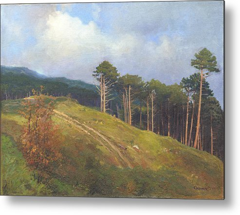 Metal Print featuring the painting In The Crimean Mountains  by Denis Chernov