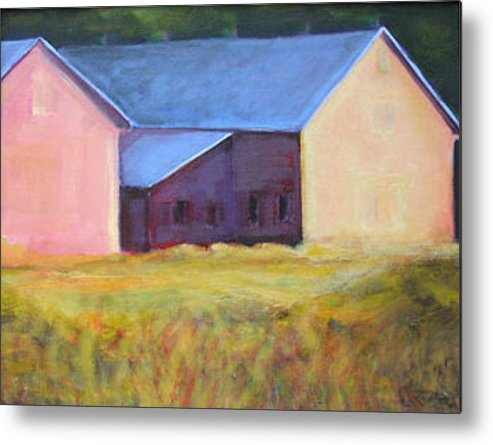 Pink Metal Print featuring the painting Barn Across The Road by Dona Mara