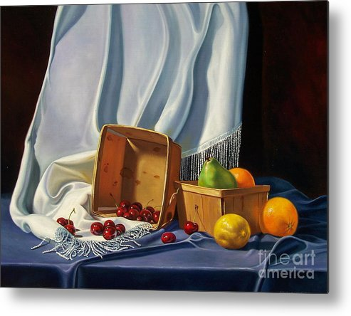 Still Life Metal Print featuring the painting Cherries On White by Arnold Hurley