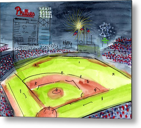 Baseball Metal Print featuring the painting Home Of The Philadelphia Phillies by Jeanne Rehrig