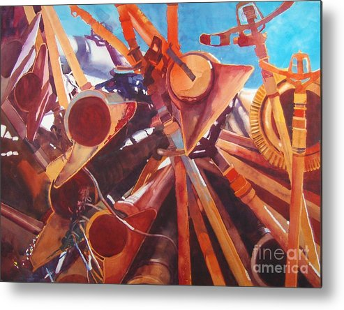 Irrigation Pipes Metal Print featuring the painting I Think They Went That-a-way by Elizabeth Carr