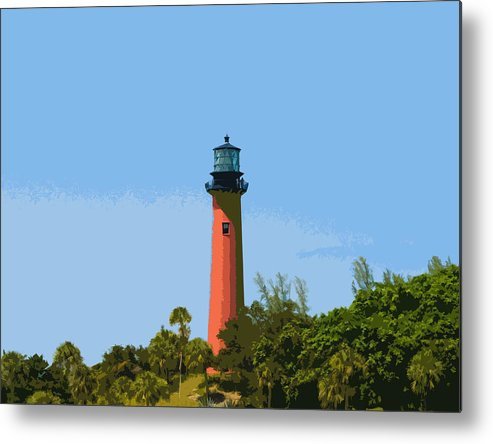 Lighthouse Metal Print featuring the painting Jupiter Inlet Light by Allan Hughes