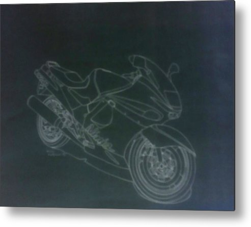 Kawasaki Ninja Drawing Metal Print featuring the drawing Kawasaki Ninja by Henry Hargrove Jr