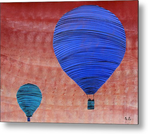 Hot Air Balloon Metal Print featuring the painting Lib - 144 by Mr CAUTION