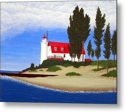 Lighthouse Paintings Metal Print featuring the painting Point Betsie Lighthouse by Frederic Kohli