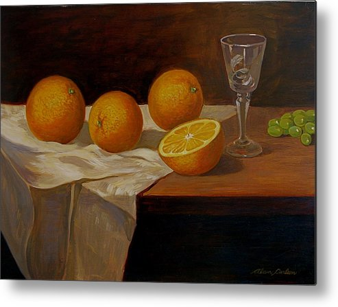 Still Life Oranges Grapes Cut Glass Metal Print featuring the painting Study Of Oranges by Alan Carlson
