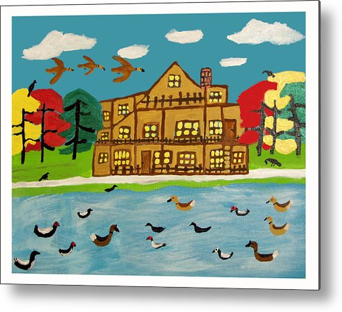 Wildlife Birds Landscape Metal Print featuring the painting The Wildlife Hotel by Betty Roberts