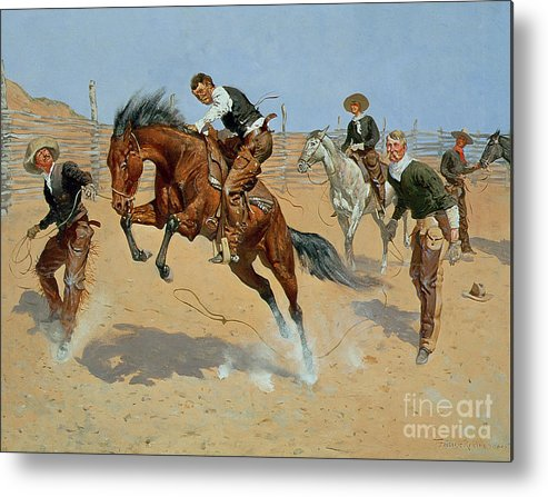 Turn Him Loose Metal Print featuring the painting Turn Him Loose by Frederic Remington