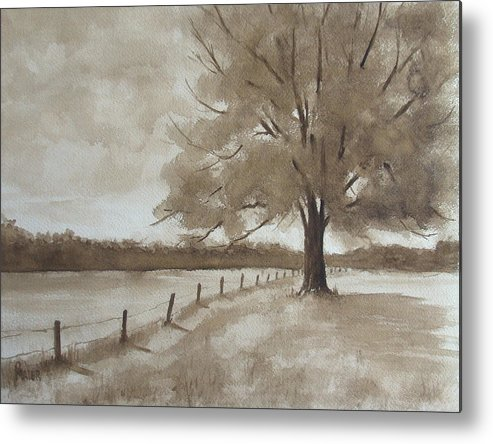 Landscape Metal Print featuring the painting 124s Sepia by Pete Maier