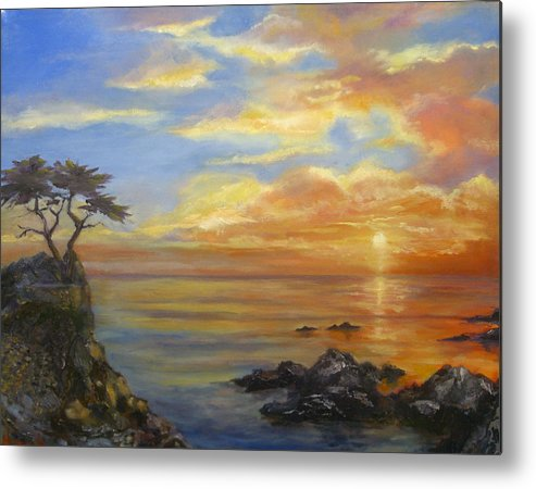 Seascape Metal Print featuring the painting 17 Mile Sunset by Norah Brown