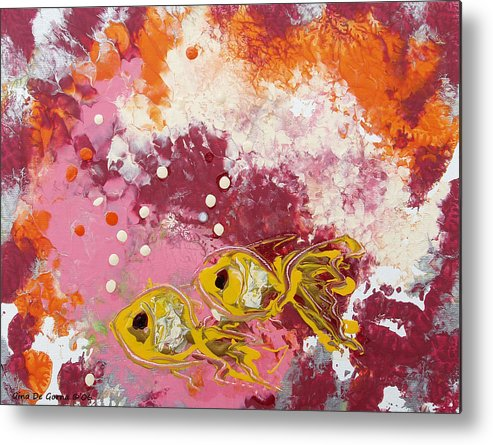 Fish Metal Print featuring the painting 2 Gold Fish by Gina De Gorna