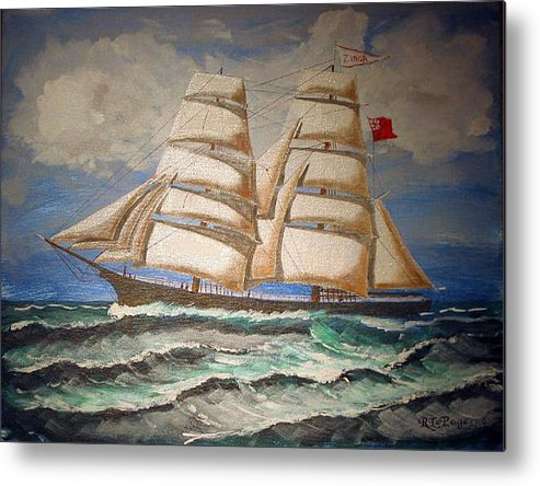 Tall Ship Metal Print featuring the painting 2 Master Tall Ship by Richard Le Page