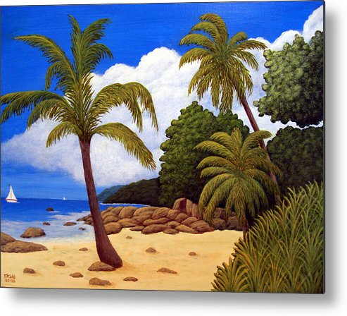 Landscape Art Metal Print featuring the painting Tropical Island Beach by Frederic Kohli