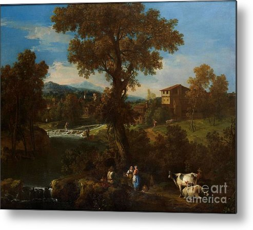 Guiseppe Zais (forno Di Canale 1709 - 1784 Treviso) Metal Print featuring the painting A River Landscape by MotionAge Designs