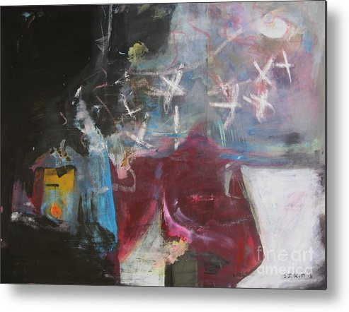 Abstract Paintings Metal Print featuring the painting A Short Story by Seon-Jeong Kim
