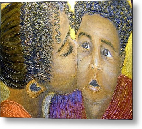 Acrylic Metal Print featuring the painting A Sisters Love by Keenya Woods