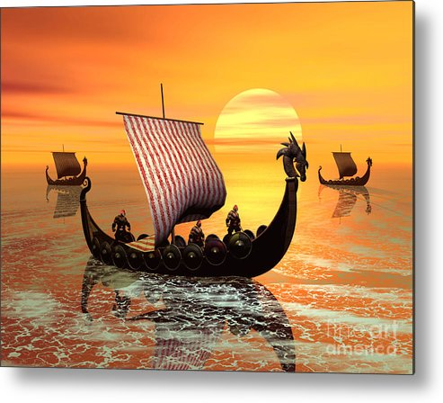 The Vikings Are Coming Metal Print featuring the digital art The Vikings Are Coming by John Junek
